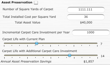 Calculator displays ROI of investment in carpet cleaning